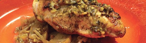 Chicken Roasted with Caramelized Onions, Apples and Cheddar