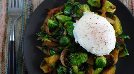 Brussels Sprouts with Caramelized Onions and A Poached Egg