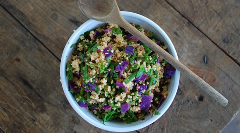 Millet with Purple Cabbage and Asparagus