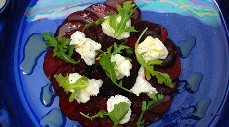 "Roasted Beet and Ricotta ""Pizza"""