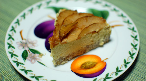 Spiced Pear Cheesecake with a Coconut Pecan Crust