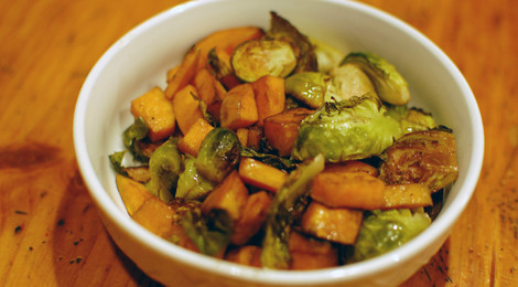 Balsamic Roasted Brussels Sprouts and Sweet Potatoes (A Thanksgiving Special)
