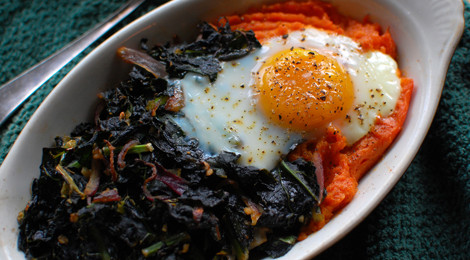 Baked Egg with Sweets and Greens