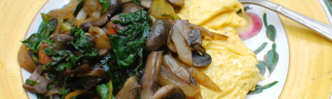 Inside-Out Omelette with Caramelized Onions, Mushrooms and Swiss Chard