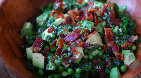 Blanched Kale Salad with A Lemon, Garlic, and Parsley Dressing