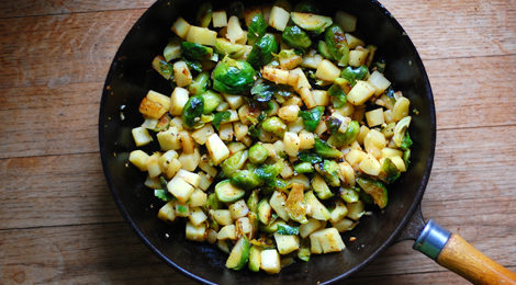 Brussels Sprouts and Parsnip Hash with Chopped Garlic
