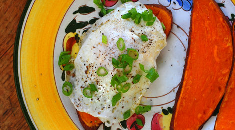 "Sweet Potato ""Toast"" with Mashed Avocado and A Fried Egg"