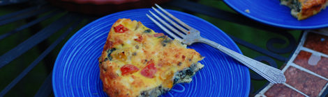 Spring Quiche w/ Swiss Chard, Mushrooms, Scallions, Tomatoes & Feta