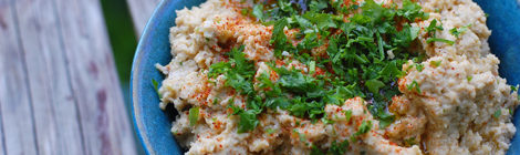 Garlic Roasted Cauliflower and Tahini Dip
