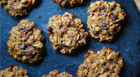 Zucchini Oatmeal Dark Chocolate Cookies