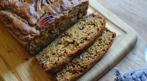 Spiced Pumpkin Bread with Chopped Pecans